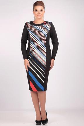 Купить Платье Romanovich style 1-963 черный с цветным, Платья, 1-963, черный с цветным, Трикотаж (70% ПЭ, 25% вискоза, 5% спандекс), Мультисезон