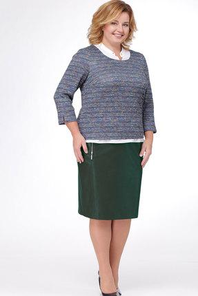 Купить Комплект юбочный Bonna Image 368 зелёный+синий, Юбочные, 368, зелёный+синий, ЮБКА - ПЭ 100% БЛУЗА - Вискоза 62%, ПЭ 33%, Спандекс 5%, Мультисезон