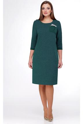 Купить Платье Мишель стиль 724 зеленый, Платья, 724, зеленый, полиэстер 70%, вискоза 20, мет.нить 10%, Мультисезон