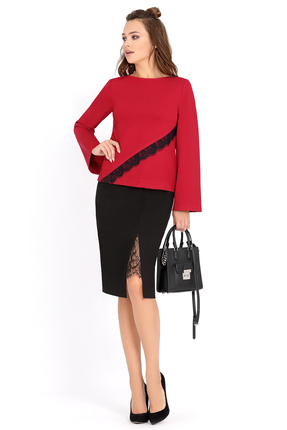 Купить Комплект юбочный PIRS 488 черно красный, Юбочные, 488, черно красный, Состав: 96% вискоза 4% эластан, Мультисезон