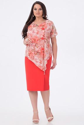 Купить Платье Erika Style 658 коралл, Платья, 658, коралл, вискоза 72%, ПЭ 25%, спандекс 3%, Лето