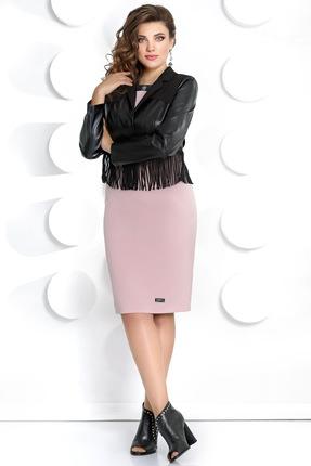 Купить Комплект плательный Мублиз 286 черный с розовым, Плательные, 286, черный с розовым, платье: вискоза 70%, пэ 26%, спандекс 4% жакет: пэ 88%, эластан 12%, Мультисезон