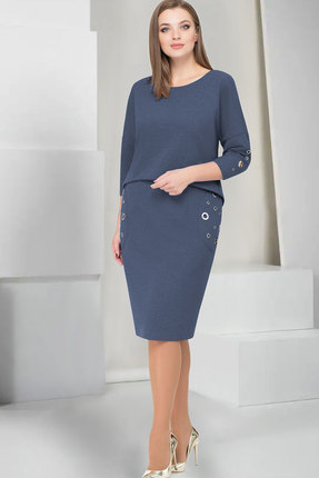 Купить Платье ТАиЕР 733 синий, Платья, 733, синий, Вискоза 60%, Полиэстер 34%, Спандекс 5%, Люрекс 1%, Мультисезон