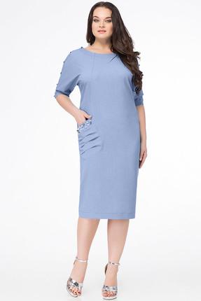 Купить Платье Erika Style 633-6 голубой, Платья, 633-6, голубой, вискоза 72%, ПЭ 25%, спандекс 3%, Лето