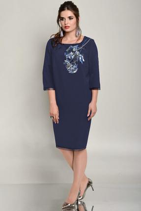 Купить Платье Faufilure с663 синий, Платья, с663, синий, Полиэстер 96%, спандекс 4%, Мультисезон