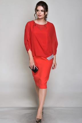 Купить Комплект плательный Faufilure с746 красный, Плательные, с746, красный, Блуза: полиэстер 100% Платье: полиэстер 95% спандекс 5%, Мультисезон