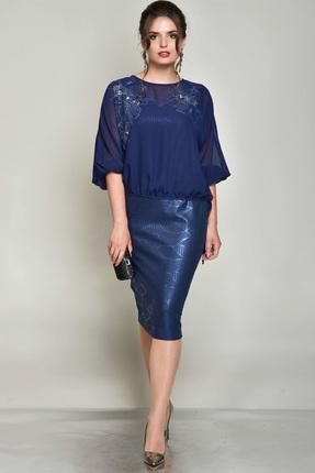 Купить Комплект плательный Faufilure с745 синий, Плательные, с745, синий, Блуза: полиэстер 100% Платье: полиэстер 95% спандекс 5%, Мультисезон