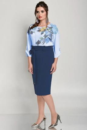 Купить Платье Faufilure с675 синий, Платья, с675, синий, Полиэстер 95%, спандекс 5%, Мультисезон