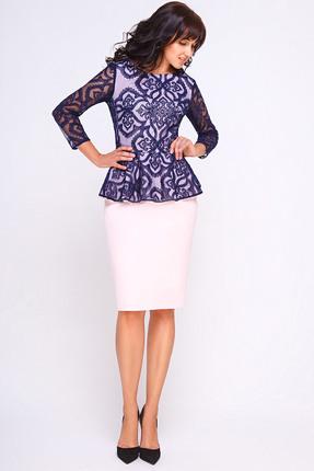 Купить Комплект юбочный SWALLOW 120 синий с розовым, Юбочные, 120, синий с розовым, Основная ткань: 40% вискоза, 60% полиэстер Кружево: полиэстер 100%, Мультисезон