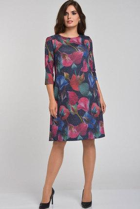 Купить Платье Elga 01-521 тёмно-синие тона, Платья, 01-521, тёмно-синие тона, 63% ПЭ 34% Вискоза 2% Спандекс 1% Люрекс, Мультисезон