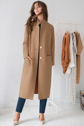 Купить Пальто ЮРС 18-872-4 бледно оранжевый, Пальто, 18-872-4, бледно оранжевый, шерсть – 50%, полиэстер – 30%, вискоза – 20%, Мультисезон