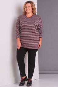 Комплект брючный Новелла Шарм 3100 серо-бордовый с черным