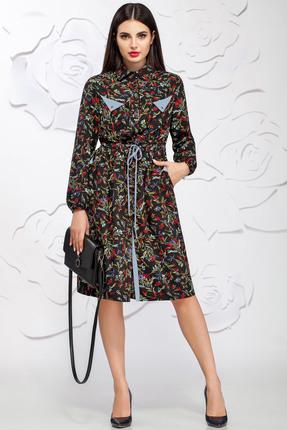 Купить Платье Ivelta plus 1602 черный с серым, Платья, 1602, черный с серым, 100% - П/Э, Мультисезон