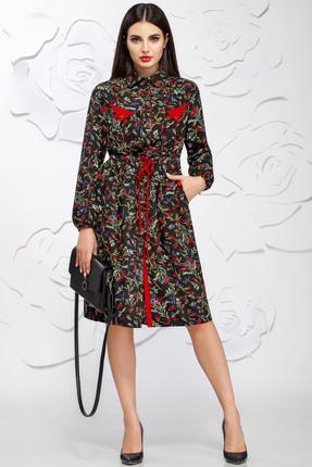Купить Платье Ivelta plus 1602 черный с красным, Платья, 1602, черный с красным, 100% - П/Э, Мультисезон