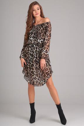 Купить Платье Denissa Fashion 1187 леопард , Платья, 1187, леопард , 100% ПЭ, Мультисезон