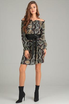 Купить Платье Denissa Fashion 1188 темные тона, Платья, 1188, темные тона, 100% ПЭ, Мультисезон