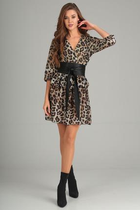 Купить Платье Denissa Fashion 1189 леопард , Платья, 1189, леопард , 100% ПЭ, Мультисезон