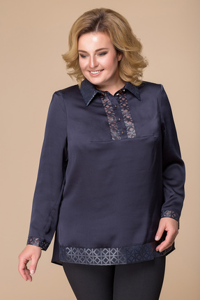 Купить Блузка Romanovich style 5-1538 темно-синий, Блузки, 5-1538, темно-синий, 95% ПЭ, 5% спандекс, Мультисезон