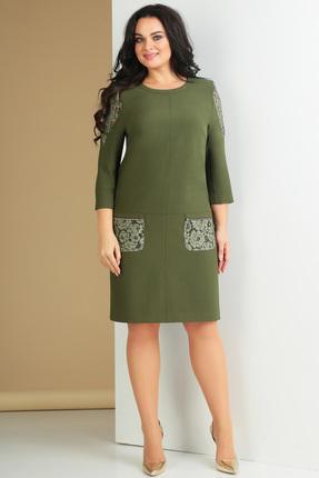 Купить Платье Ксения Стиль 1578 олива, Платья, 1578, олива, п/э 71%, вискоза 23%, спандекс 6% (плательная ткань), Мультисезон