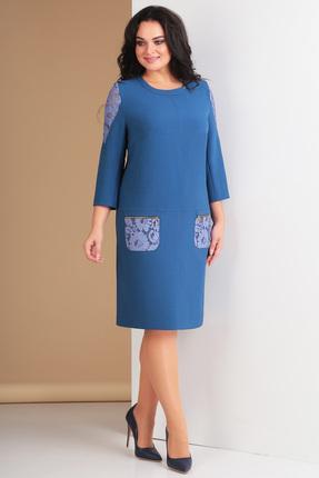 Купить Платье Ксения Стиль 1578 синий, Платья, 1578, синий, п/э 71%, вискоза 23%, спандекс 6% (плательная ткань), Мультисезон