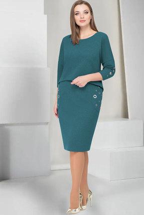 Купить Платье ТАиЕР 733 бирюзовый, Платья, 733, бирюзовый, Вискоза 60%, Полиэстер 34%, Спандекс 5%, Люрекс 1%, Мультисезон