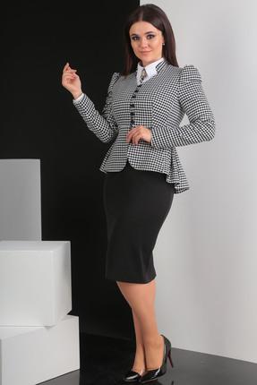 Купить Комплект юбочный Мода-Юрс 2319-1 черно-белый, Юбочные, 2319-1, черно-белый, Юбка: полиэстер 80%, вискоза 16%, эластан 4%. Жакет: вискоза 81%, полиэстер 19% ., Мультисезон