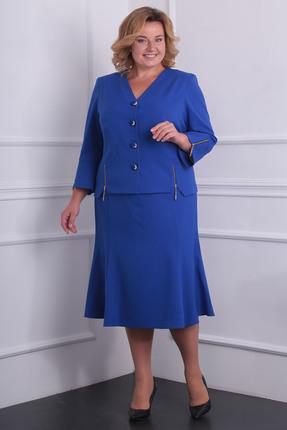 Купить Комплект юбочный Milana 974 василек, Юбочные, 974, василек, Материал костюма: Костюмно-плательная со стрейчем. Состав: ПЭ-50%, спандекс-3%, вискоза - 47%., Мультисезон