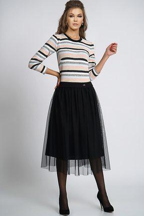 Купить Платье Alani 814 черный+мультиколор, Платья, 814, черный+мультиколор, Верх платья «Ангора»: Вискоза 65%+Нейлон 31%+Эластан 4% Низ платья сетка +подкладка: Хлопок 98%+Эластан 2%, Мультисезон