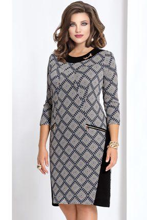 Купить Платье Vittoria Queen 4153/3 серый с черным, Платья, 4153/3, серый с черным, ПЭ 70%+Вискоза 26%+Эластан 4%., Мультисезон