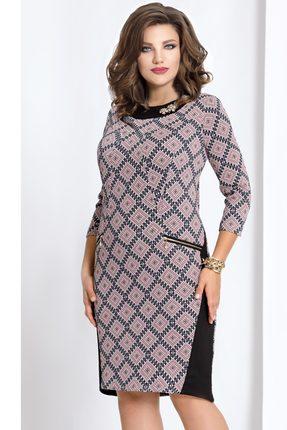 Купить Платье Vittoria Queen 4153/4 розовые тона с черным, Платья, 4153/4, розовые тона с черным, ПЭ 70%+Вискоза 26%+Эластан 4%., Мультисезон