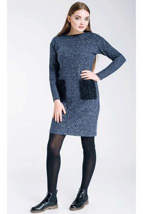 Купить Платье TricoTex Style 4716 синий, Платья, 4716, синий, 70% п/э, 25% вискоза, 5% спандекс, Мультисезон
