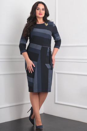 Купить Платье Milana 964 синие тона, Платья, 964, синие тона, Костюмно-плательная со стрейчем (меланж) Состав: ПЭ-30%, вискоза-68%, спандекс-2%, Мультисезон