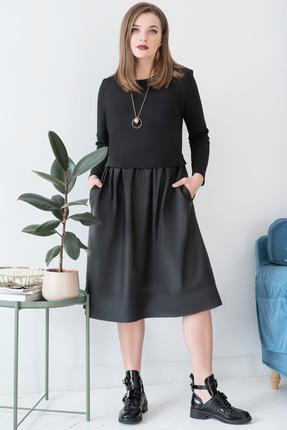 Купить Платье ЮРС 17-779-2 черный, Платья, 17-779-2, черный, вискоза – 67%, нейлон – 29%, спандекс – 4% Тип ткани: костюмно-плательная, Мультисезон
