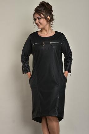 Купить Платье Solomeya Lux 518 черный, Платья, 518, черный, Ткань: Трикотаж+кожаное напыление полиэстер-62%, вискоза-38%., Мультисезон