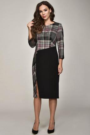 Купить Платье Teffi style 1367 серый с черным, Платья, 1367, серый с черным, 75% ПЭ, 39% вискоза, 6% СП, Мультисезон