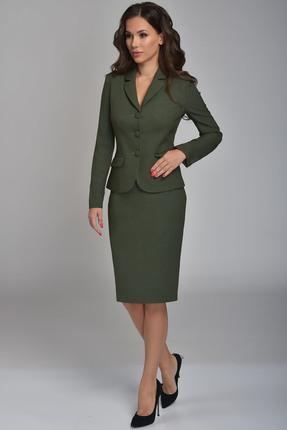 Комплект юбочный Teffi style 1362 зеленый, Юбочные, 1362, зеленый, 66% ПЭ, 29% вискоза, 5% спандекс, Мультисезон  - купить со скидкой