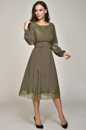 Платье Teffi style 1358 олива, Платья, 1358, олива, 95% пэ, 5% эластан, Мультисезон  - купить со скидкой