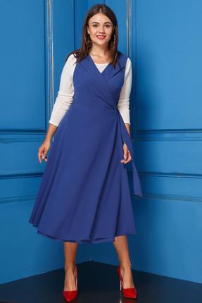 Купить Комплект плательный Anastasia 226 синий, Плательные, 226, синий, Платье: ПЭ-95%, вискоза-5%; Блуза: Вискоза-92%, Лен-8%, Мультисезон
