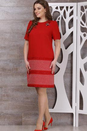 Купить Платье ТАиЕР 588 красный, Платья, 588, красный, Вискоза 60%, Полиэстер 34%, Эластан 5%, Люрекс 1%, Мультисезон