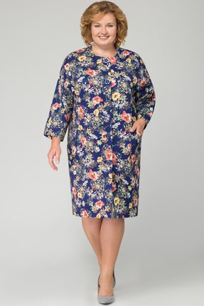 Купить Жакет Svetlana Style 1092 синий с цветами, Жакеты, 1092, синий с цветами, ПЭ 70%+Вискоза 25%+Спандекс 5%, Мультисезон