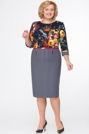 Купить Платье Svetlana Style 1006 темно-синий с цветами, Платья, 1006, темно-синий с цветами, ПЭ 95%+Спандекс 5%, Мультисезон