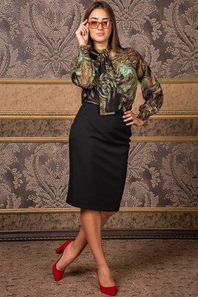 Купить Комплект юбочный Deesses D-028 черный с зеленым, Юбочные, D-028, черный с зеленым, Блуза: ПЭ 100% Юбка: Хлопок 70%+Нейлон 27%+Спандекс 3%, Мультисезон
