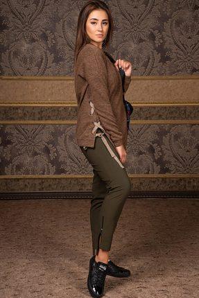 Купить Комплект брючный Deesses D-036 светло-коричневый с хаки, Брючные, D-036, светло-коричневый с хаки, Джемпер: Вискоза 60%+ПЭ 35%+Спандекс 5% Брюки: Хлопок 70%+Нейлон 27%+Спандекс 3%, Мультисезон