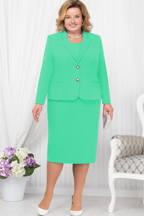 Купить Комплект плательный Ninele 2179 светло-зелёный, Плательные, 2179, светло-зелёный, Жакет - полиэстер 95%, спандекс 5%, подкладка – ПЭ 100%, платье - полиэстер 95%, подкладка - полиэфир 95%, Мультисезон
