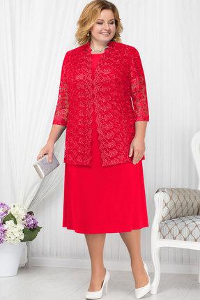 Купить Комплект плательный Ninele 5665 красный, Плательные, 5665, красный, Блуза - кружево - ПЭ-100%, платье - масло - Полиэстер-96%, Спандекс-4%, кружево - ПЭ-100%, Мультисезон