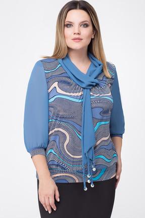 Купить Блузка Дали 1267 голубой, Блузки, 1267, голубой, Вискоза 48%, ПЭ 47%, спандекс 5%. Рукава - шифон., Мультисезон