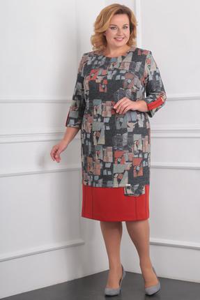 Купить Платье Milana 956 красные тона, Платья, 956, красные тона, Трикотажное полотно Состав: ПЭ-58%, вискоза-37%, спандекс-5%, Мультисезон