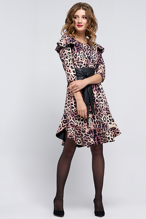 Купить Платье Denissa Fashion 1184 леопард , Платья, 1184, леопард , 96% ПЭ, 4% спандекс , Мультисезон