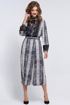 Купить Платье Denissa Fashion 1185 синие тона, Платья, 1185, синие тона, 100% ПЭ, Мультисезон