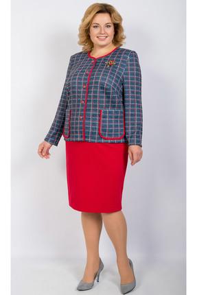 Комплект юбочный TricoTex Style 1855 синий с красным
